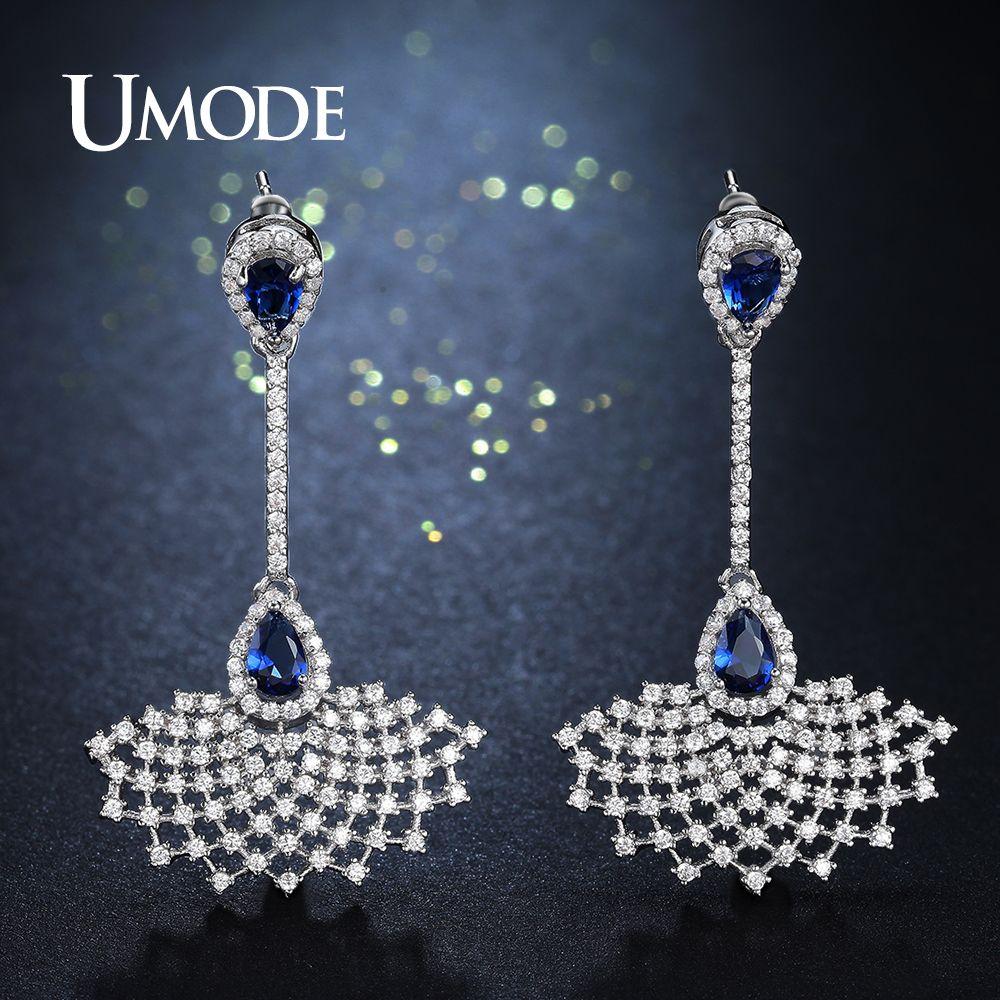 Großhandel Mode Big Bule Klar CZ Brincos Kleid Form Lange Kristall Ohrringe Schmuck für Frauen Hochzeit Schmuck Brincos UE0261