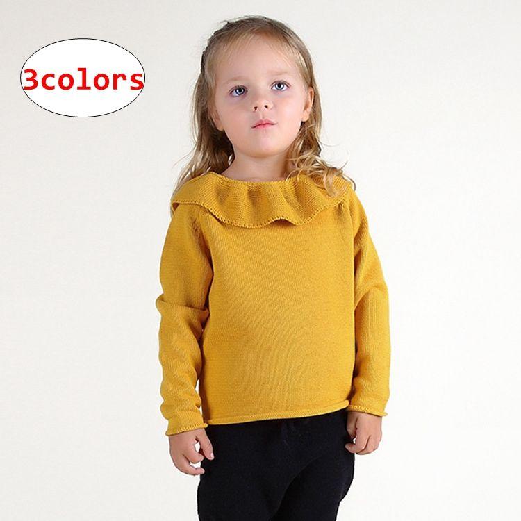Menina de Lótus gola Camisolas INS Crianças Cor Sólida De Malha encabeça Crianças Outono Inverno Pullover Camisa 3 cores 5 tamanho