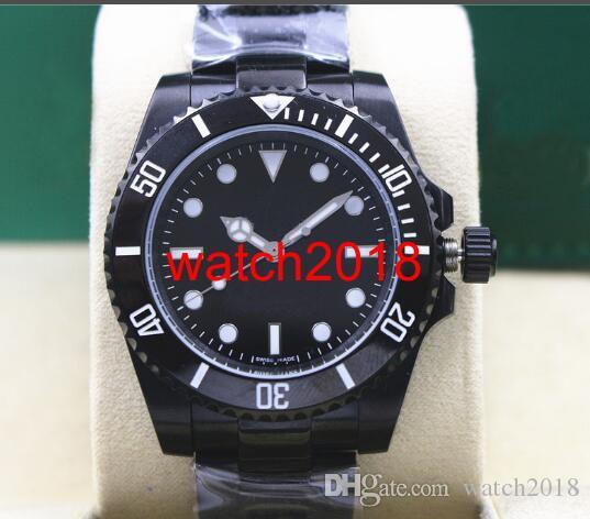 Najwyższej jakości luksusowy zegarek NODAPTE 114060 stal czarny zegarek ceramiczny Czarny PVD Wykończenie 40mm Automatyczne Mechaniczne Mężczyźni Zegarki New Arrival