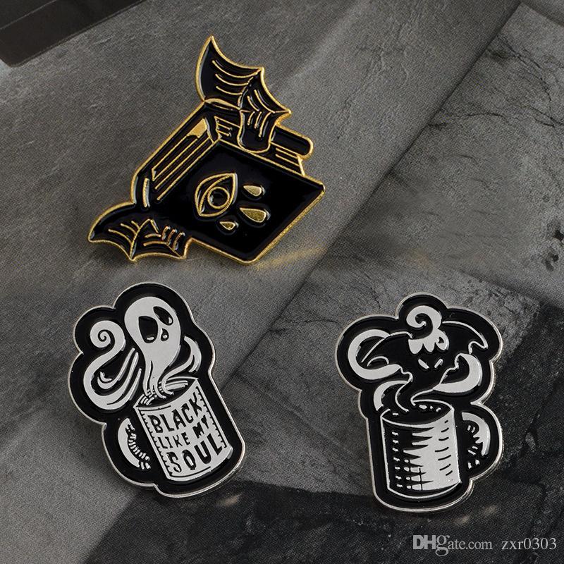Fledermaus bösen Blick Buch schwarz wie meine Seele Kaffeetasse lustige Kaffee Zitat Stifte schwarze Stifte Punk Stifte Broschen Abzeichen