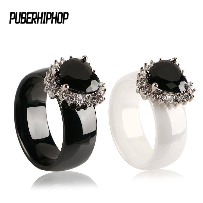 La nueva manera de gran tamaño de los anillos del corazón Negro Natural piedra del boda 8MM de compromiso anillos de dedo para siempre amor por las mujeres joyería