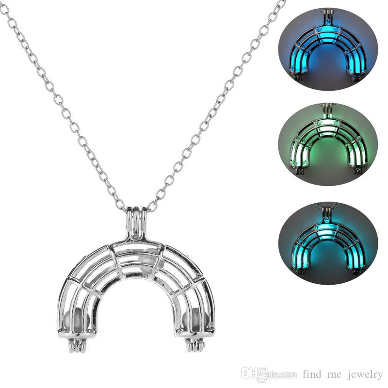 Multicolor contas luminosas colar geométrica oco ponte do arco-íris colar de pingente mulheres longo camisola cadeia de jóias acessórios atacado