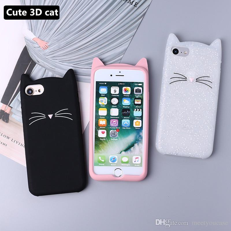 Mignon 3D Silicone Chat De Bande Dessinée Rose Noir Paillettes Étui Souple De Téléphone Coque Fundas Pour IPhone 7 7 Plus 6 6 S 6 Plus 5 5 S 8 8 Plus ...