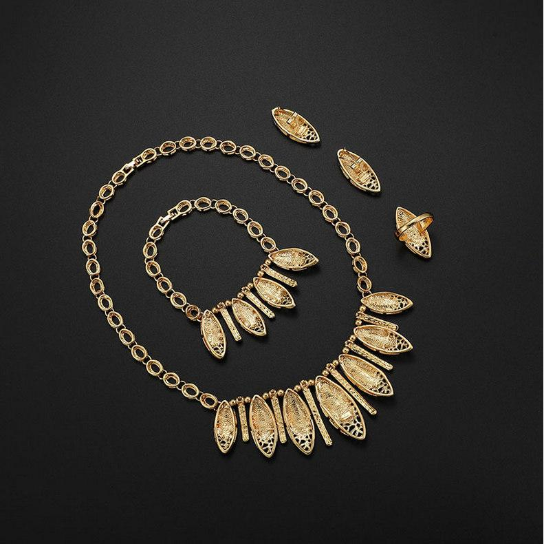 4-Piece Party Jewelry Set Luxury Women Rhinestone 18K Gold Plated Alloy Leaves Earrings Necklace Bracelet Ring Bridal Wedding Jewelry Set