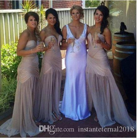 Nude Mermaid boho Bridesmaid Dress 2018 Sweetheart V Neck Pleat Side Slit Sexy Maid Of The Bride Evening Gowns Formal Occasion Wear