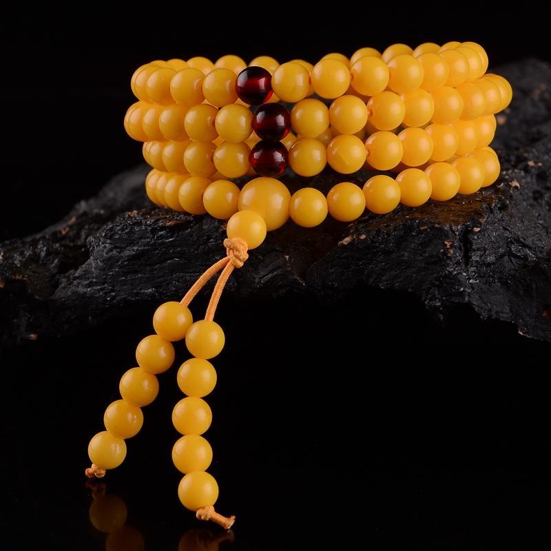 شمع العسل اليد سلسلة الطبيعية العنبر ستون الدجاج النفط أصفر شمع العسل 108 الخرز سوار للرجال والنساء