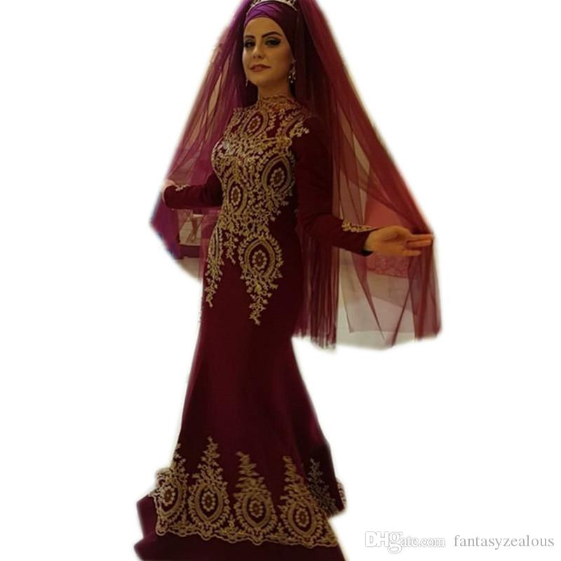New Arrival Burgundy Long Sleeves Prom Dresses Arabic Muslim Gold Appliques Beaded Mermaid Style Evening Gowns For Women Formal