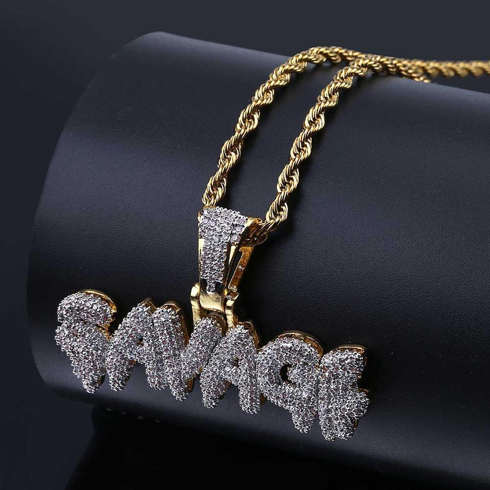 Statement Necklaces Personality Rap Hip Hop SAVAGE Pendant Micro-inlaid Zircon Hipster Necklace for Men Hot Sale