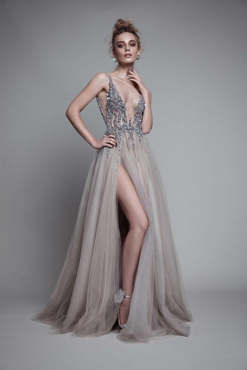 Compre Sexy Vestido De Noche Largo Con Escote En V Lateral Dividido En El  Costado 12 Nuevas Llegadas Sin Espalda Brillante Ranura Alta Ver A Través