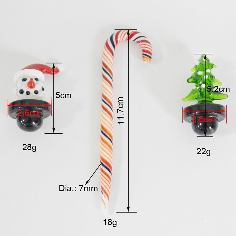Noel Carb Cap Kardan Adam Noel ağacı Cam Carb Cap Cane gör dabber Aracı Renkli Baloncuk Carb Kuvars Banger 3pcs / set için Dome Caps