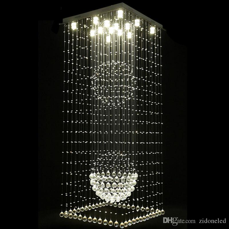 Square Ceiling Raindrop Crystal Chandelier For Staircase