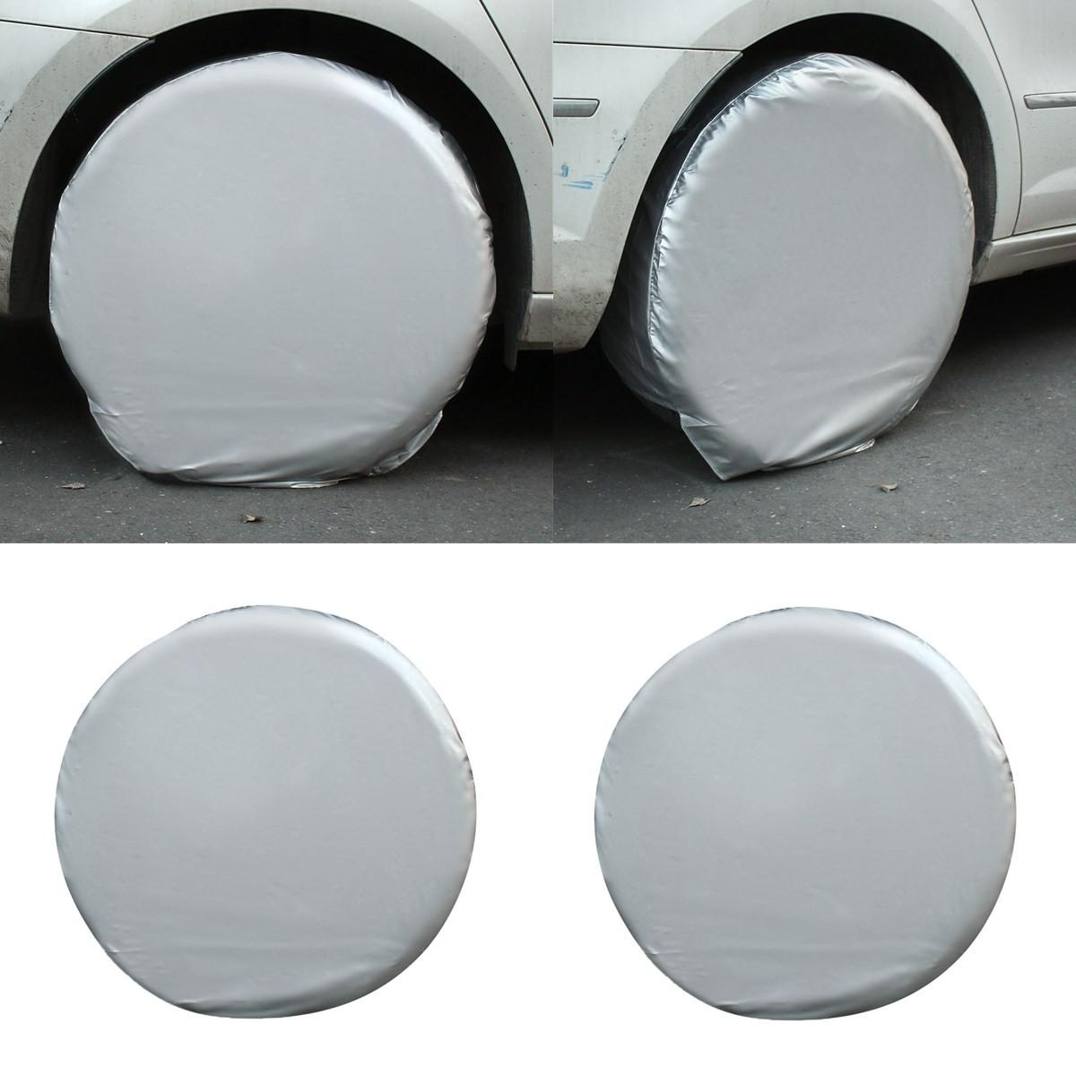 Tire Cover,4Pcs 27-29 Wheel Tire Tyre Silver Protection Cover Compatible With Car Jeep RV SUV Truck Trailer