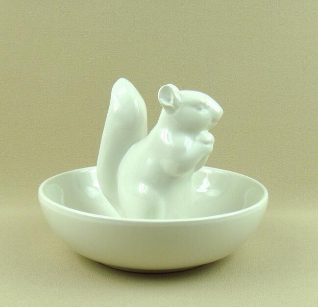 Cerámica ardilla estatuilla que sirve Tazón decorativas porcelana novedad organizador animal China Vajilla suministros adorno artesanía