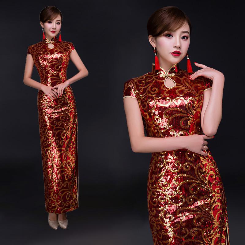 Вино красный блесток кружева длинные cheongsam тонкий тонкий с коротким рукавом китайский стиль улучшенная годовая производительность банкет cheongsam платье