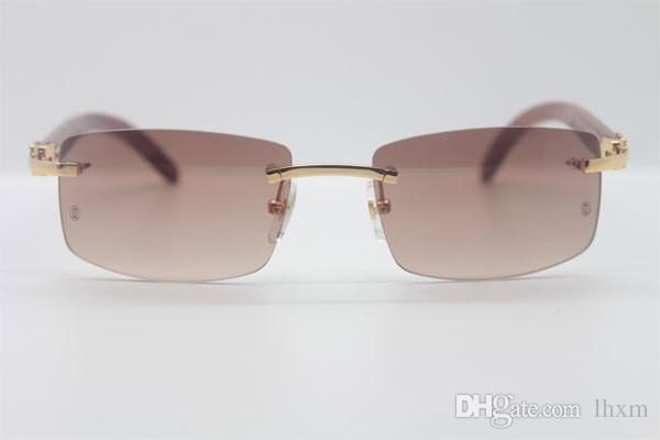 Размер ретро продажа Винтаж Hot Wood 3524012 Сделанные хорошие женские Солнцезащитные очки Оптовые-2021 Зеленый объектив Rimless 56-18-135 мм TNGJW