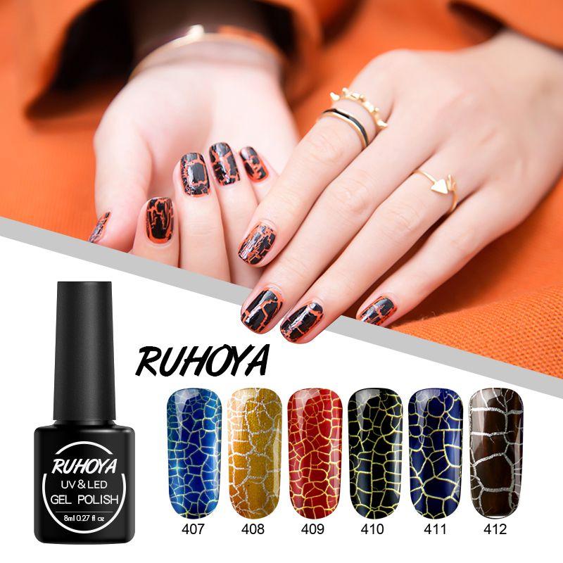 Ruhoya Nuevo estilo 8ml Crackle Patrón Esmalte en gel para uñas Soak Off Semi-permanente UV Cracking Gel Lacquer Nail Art Glue de larga duración