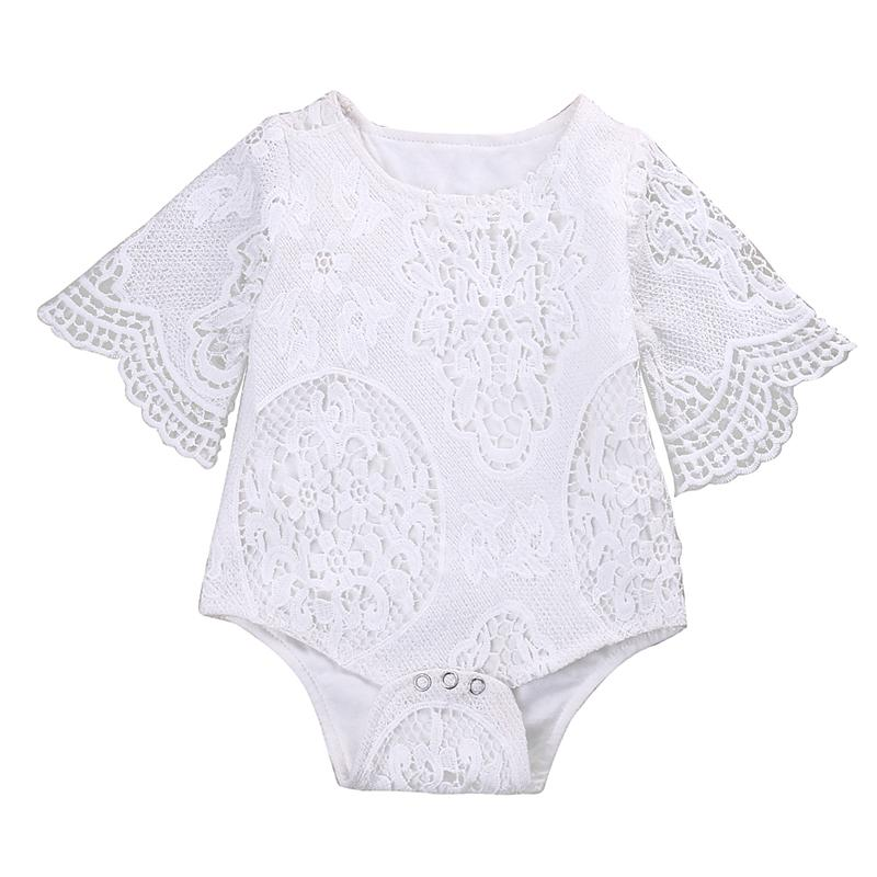Lace White Hollow Bodysuit Newborn Baby Girls Ruffle Sleeve Clothes Bodysuit Jumpsuit Outfits