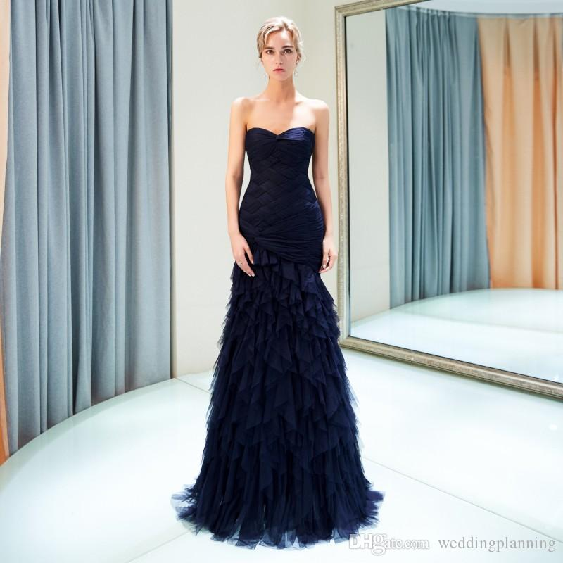 Sweetheart Navy Blue Ruffle Evening Gown Tiered Pick-ups 2018 Free Ship Prom Dresses Formal Party Dress Zipper Back Floor Length