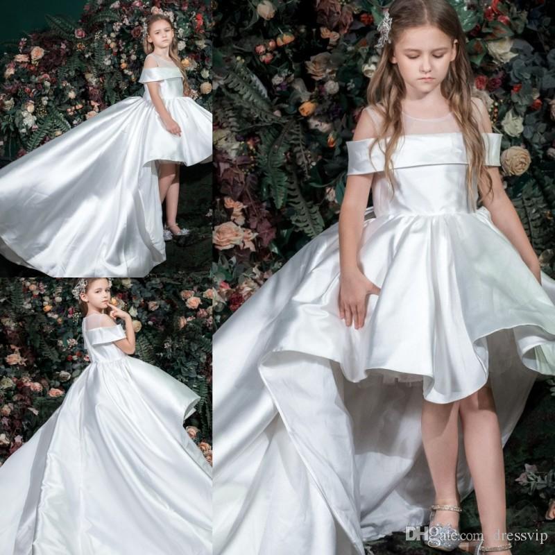 Beyaz Çiçek Kız Elbise Kapalı Omuz Sheer Jewel Boyun Yüksek Düşük Sweep Tren Zarif Balo Elbise Parti Zuhair Murad Elbise Vestidos Festa