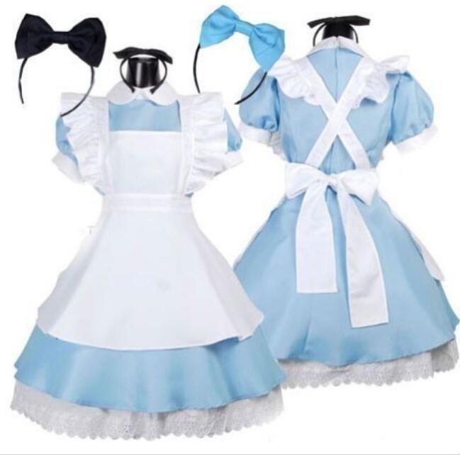 Erwachsene Alice im Wunderland Kostüm Cosplay Frauen Mädchen Maid Kostüm Lolita