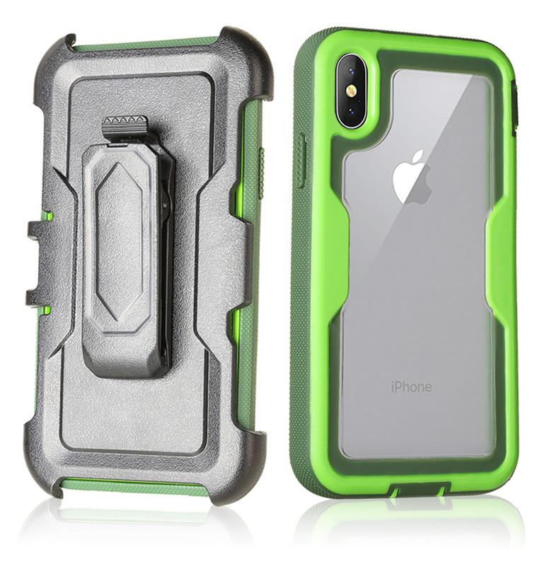 For Iphone XS XR Case Defender Case 3in1 Clear High Impact Heavy Duty Hard Rugged Rubber Back Cover with Clip for Iphone X Samsung note 9