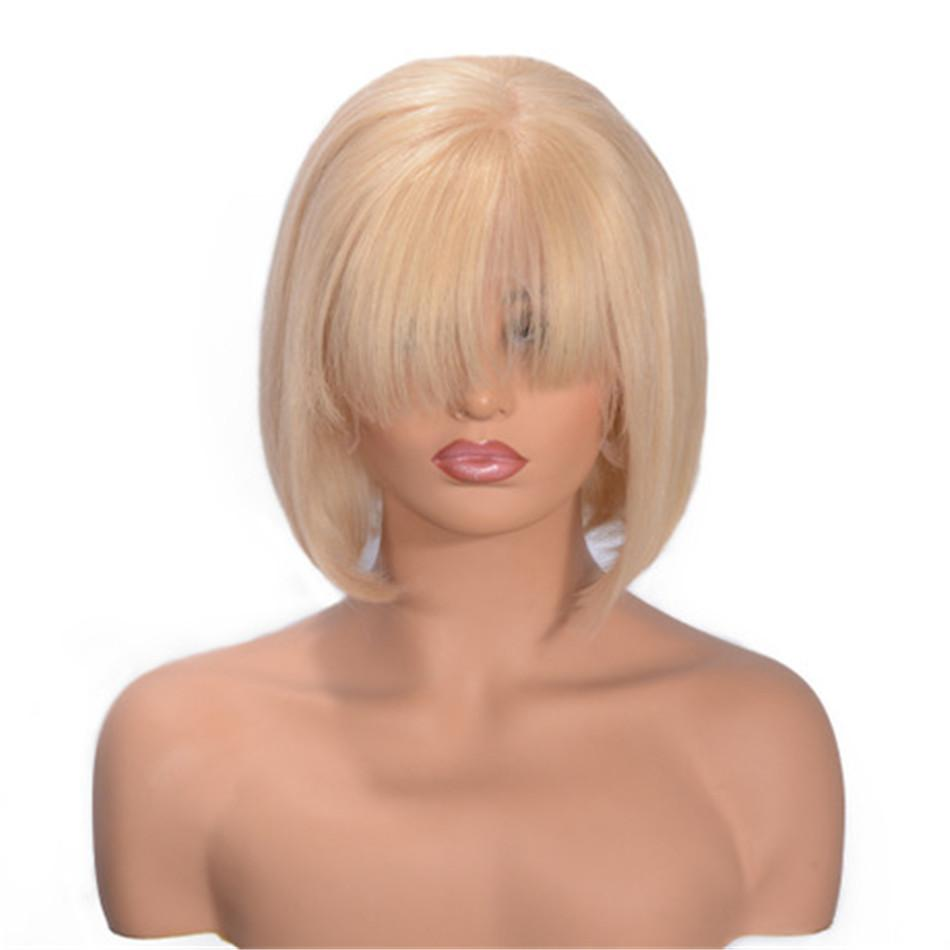 Human Hair Blonde Wig 613 Brazilian Full Lace Wigs Short Straight Bangs Lace Front Wigs for Women