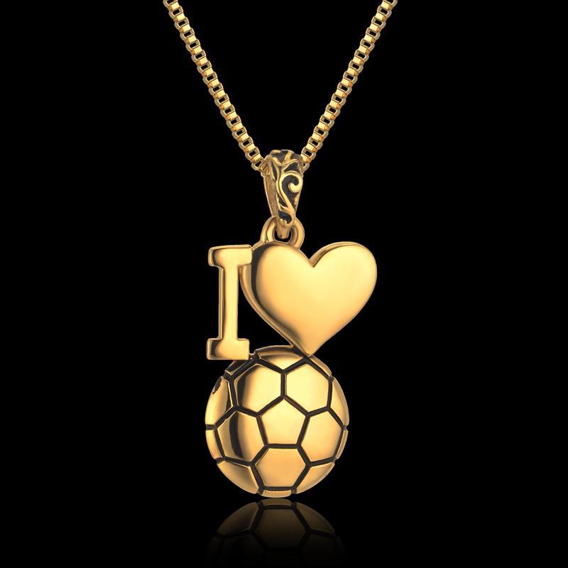 Gioielli smalto I Love Soccer Ball Collana Catena in acciaio inox Catena Colar Gioielli uomo color oro ciondoli collane da calcio