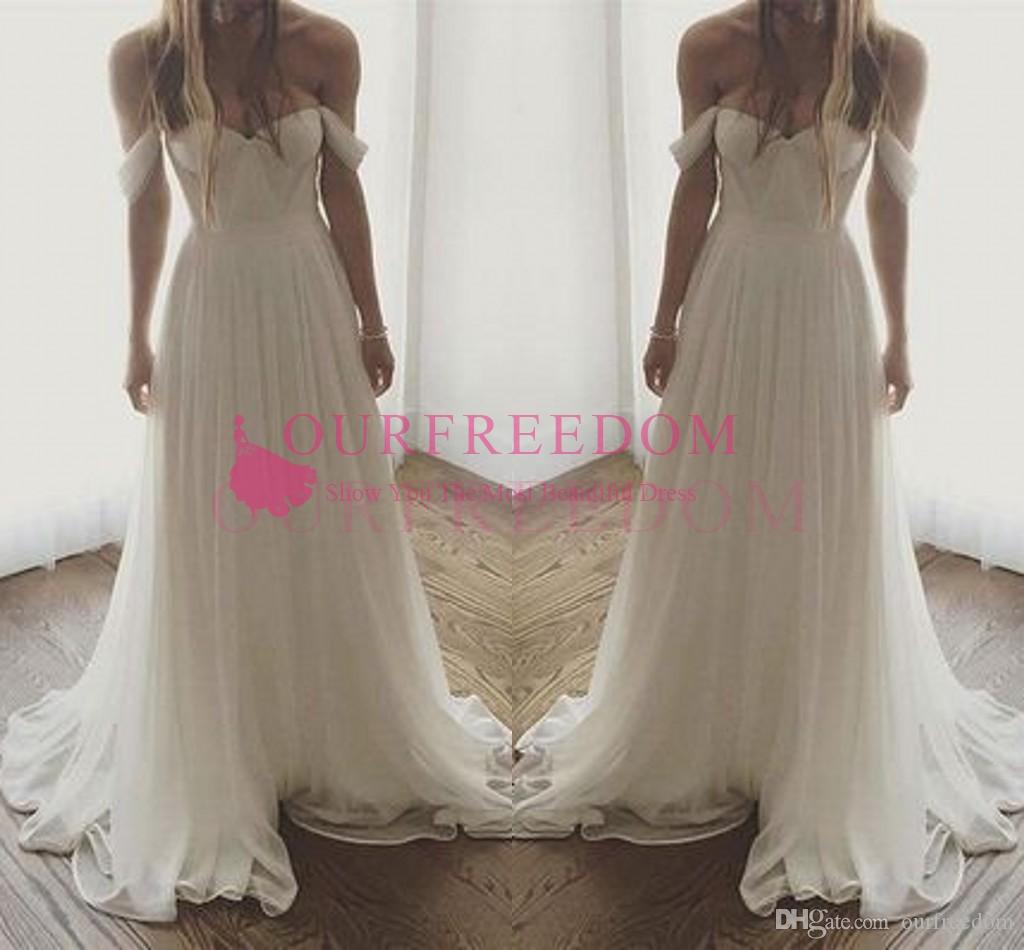 Cheap Simple 2019 Boho Garden Off The Shoulder Wedding Dresses A Line Chiffon Tulle Chic Rustic Bridal Gown Custom Made Hot Sale