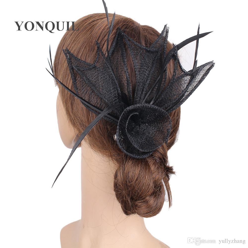 High quality elegant church bridal wedding hair fascinators wedding accessories nice brooches party hats bridal headpiece 6Pcs/lot MYQO21