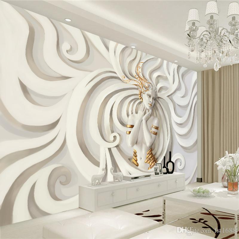 Customized Sculpture Relief Beautiful Lady Wall Mural 3d Wallpaper Art Design Bedroom Background Living Room Home Decoration Wall Decal Design Wall