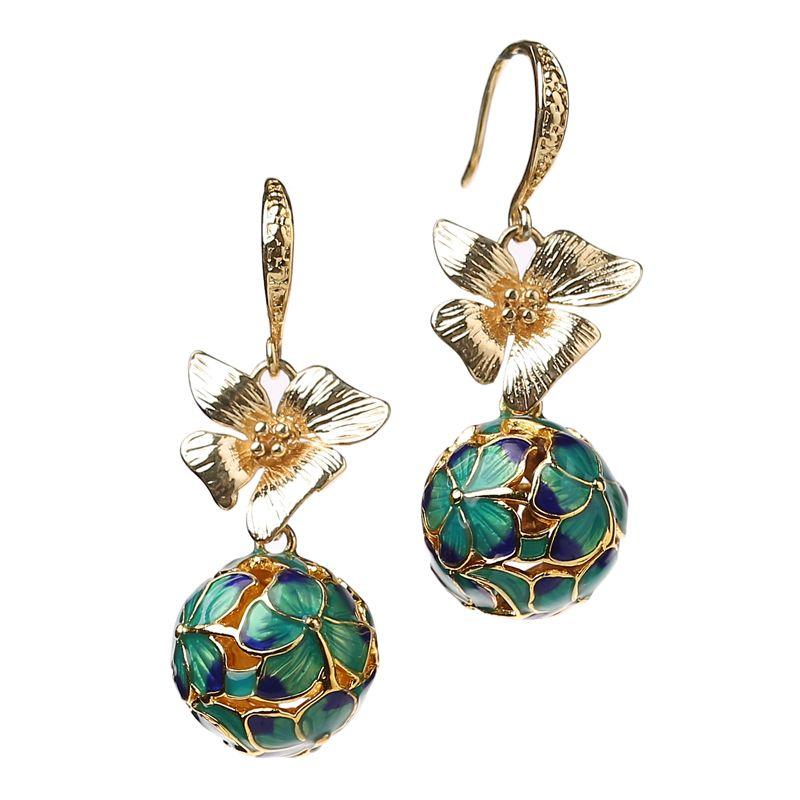 National ancient landscape Thai blue earrings retro super fairy flower ear ornament was thin female