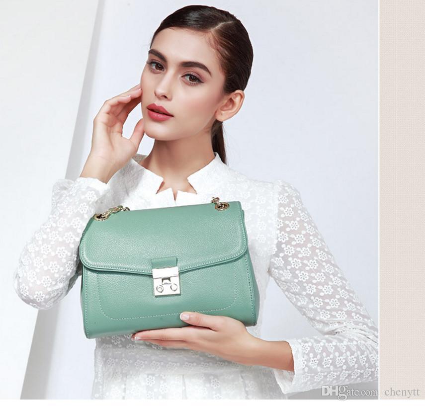 ربيع / صيف 2018 حقيبة جلدية أزياء المرأة حقيبة يد فواتير الشحن الكتف يميل عبر سلسلة حقيبة جلدية باوتو 0307