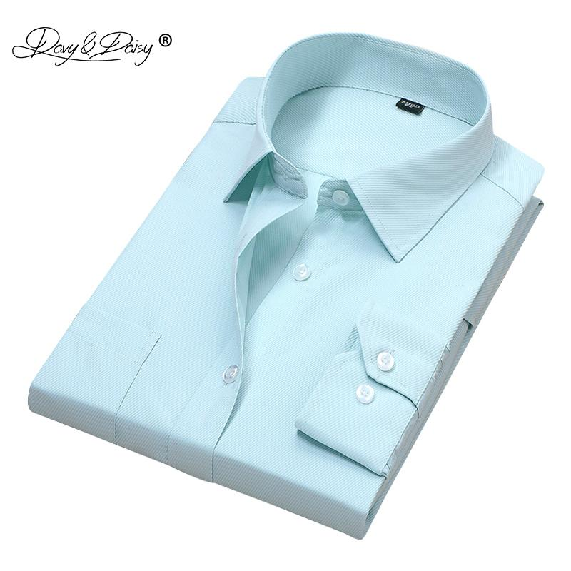 DAVYDAISY New Arrival Men Shirt Long Sleeved Twill Solid Business Dress Shirts  Clothing Formal camisa masculina DS168