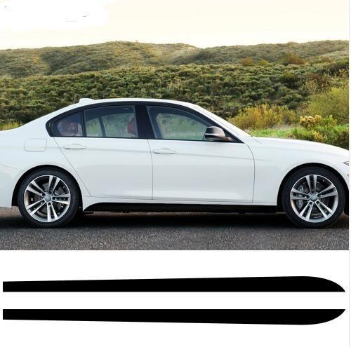 2 pezzi New Style M Performance Gonna laterale Sill Racing Stripe Vinyl Decal adesivi per BMW Serie 3 E90 E91 E92 E93 318i 320i