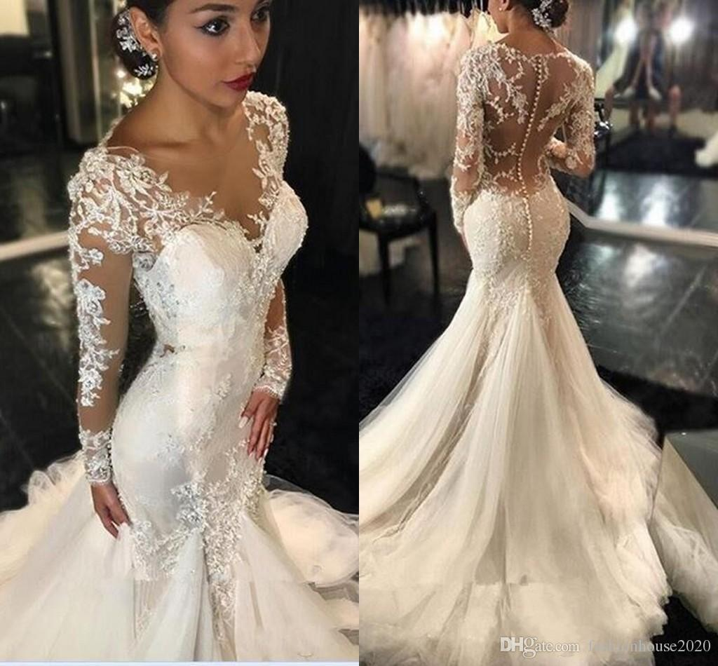 2020 new dubai african mermaid wedding dresses v neck lace appliques  illusion long sleeves sheer open back fishtail bridal gowns plus size  casual