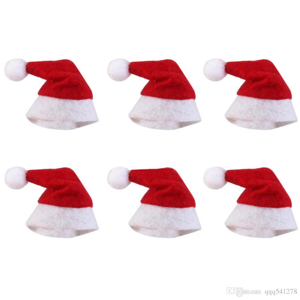 Mini Chapéu De Natal Chapéu De Papai Noel Xmas Chapéu De Pirulito Mini Presente De Casamento Tampas Criativas Enfeite Da Árvore De Natal Decoração