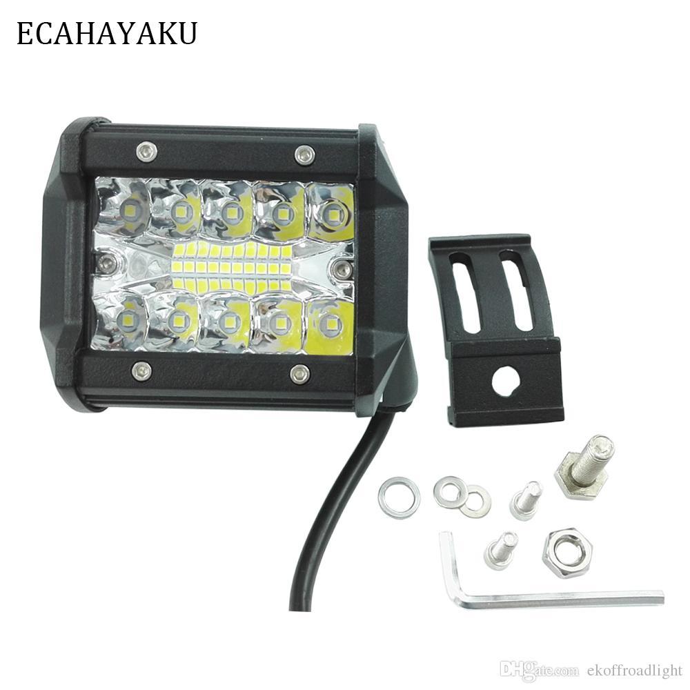 ECAHAYAKU 2pcs 4inch Trabalho LED Light Bar 60W feixe 12V 24V Off-Road 4WD 4x4 ATV UTV UAZ motocicleta caminhão de barco luzes de condução