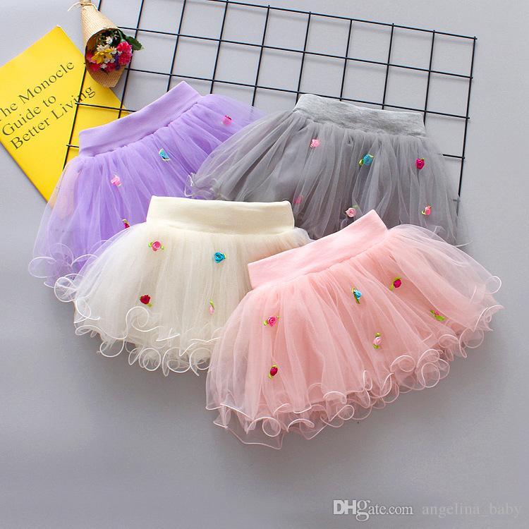 4 colores flores de verano falda de gasa para los niños niños fiesta de baile corto falda bebé niñas faldas TUTU Princesa trajes de fiesta
