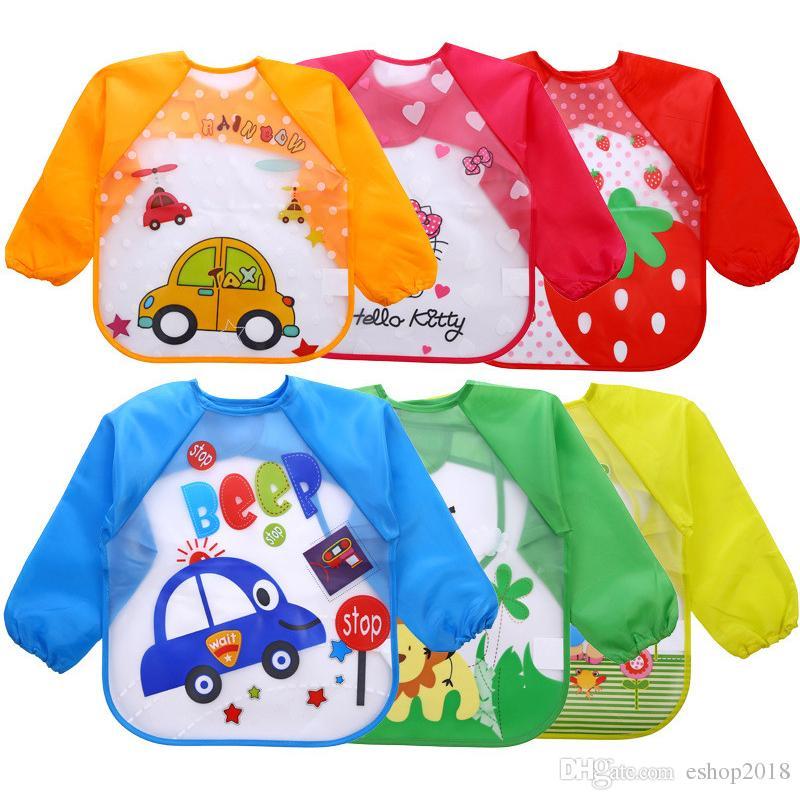귀여운 아기 유아 만화 오버올 방수 긴 소매 턱받이 어린이 애들 먹이 앞치마 먹는 옷 Burp Cloths 18 스타일