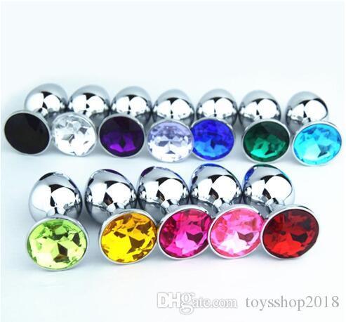 Metal Anal plug 3 Boyutları 7.5 cm 8.5 cm 9.5 cm Anal Oyuncaklar, Popo Fiş, Ganimet Boncuk, Rastgele Renkler Metal + Kristal Jewely