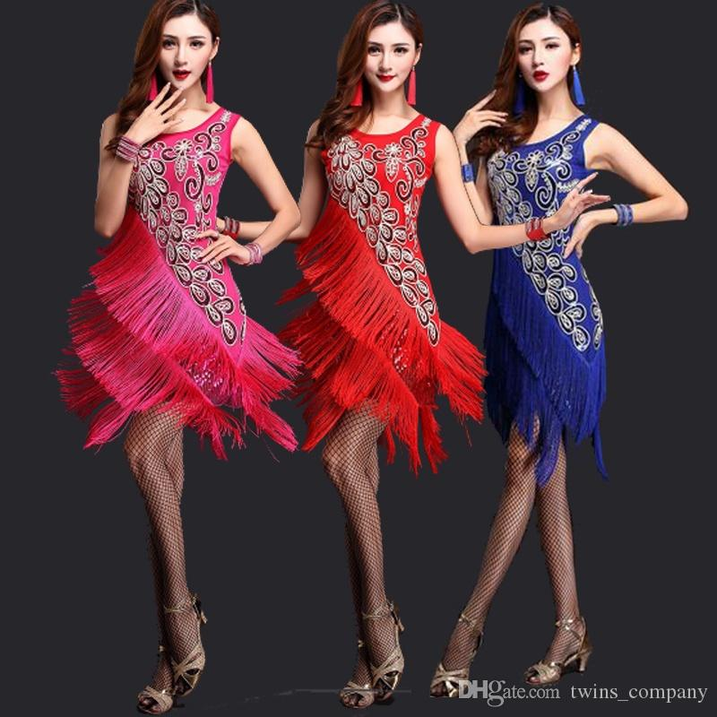 Women Latin Costume Lady Salsa Ballroom Competition Sequin Fringe Dancing Dress