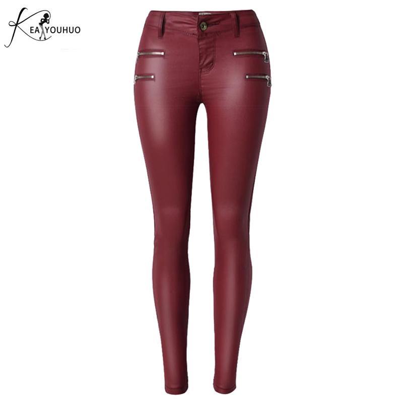 여성 가짜 가죽 바지 높은 허리 세 Buons 슬림 탄력성 패션 빨간색 Lederhoshoen 여성 Pantalon Femme Skinny 청바지