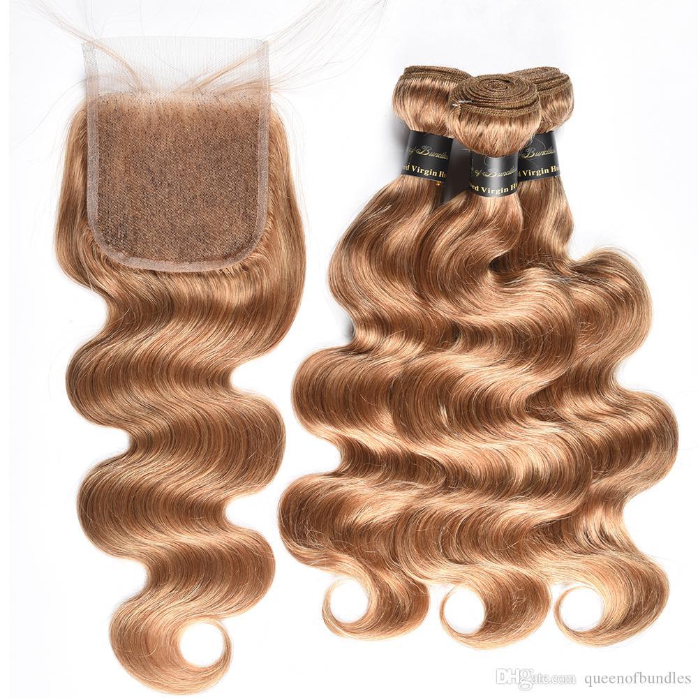 Мед блондинка бразильский объемная волна с 4x4 кружева закрытия 9а необработанные бразильские девственные волосы объемная волна с закрытием 27# бразильские человеческие волосы