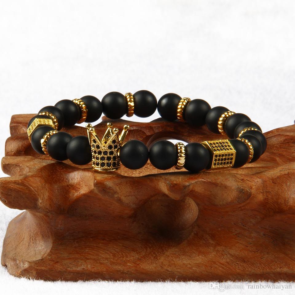 1 PCS Vente Chaude De Luxe Bijoux Micro Inlay CZ Perles Couronne Bracelets Avec 8mm Pierre Perles Perlé Bracelet Cadeau Pour Hommes