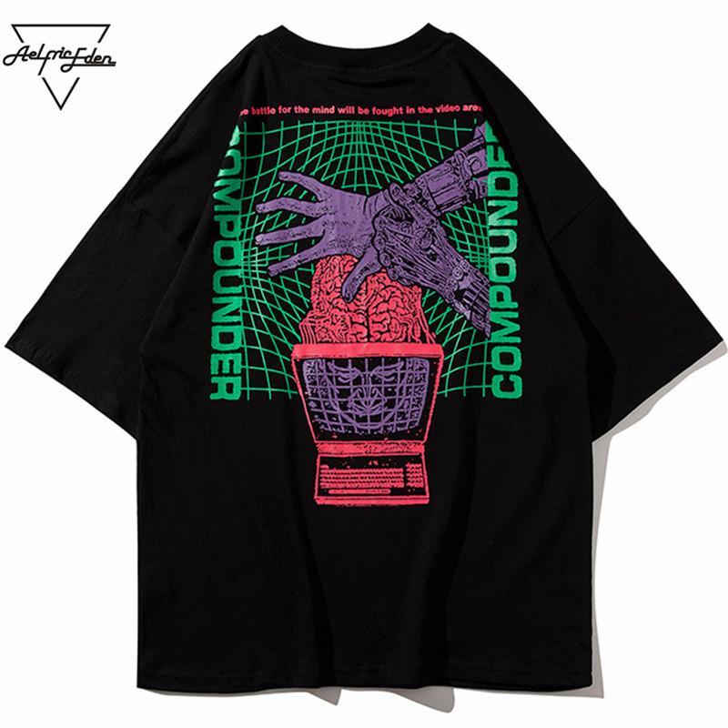 T-shirt da uomo T-shirt Aelfric Men T-shirt Fashion 2021 Estate Big Letter Stampato in cotone manica corta Skateboard O-Collo Casual PA220