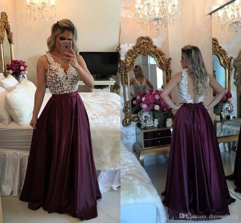Elegant Burgundy Prom Dresses Sexy Illusion Back Floor Length A Line Evening Dresses Special Occasion Gowns