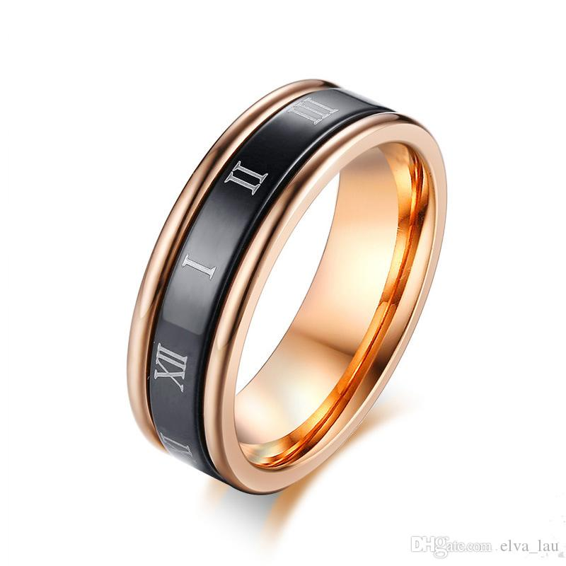Roman Numerals Rings for Women Dating Jewelry Black and Rose Gold Color Ladies Stainless Steel Spinner Wedding Bands Finger Ring US Size 6-9