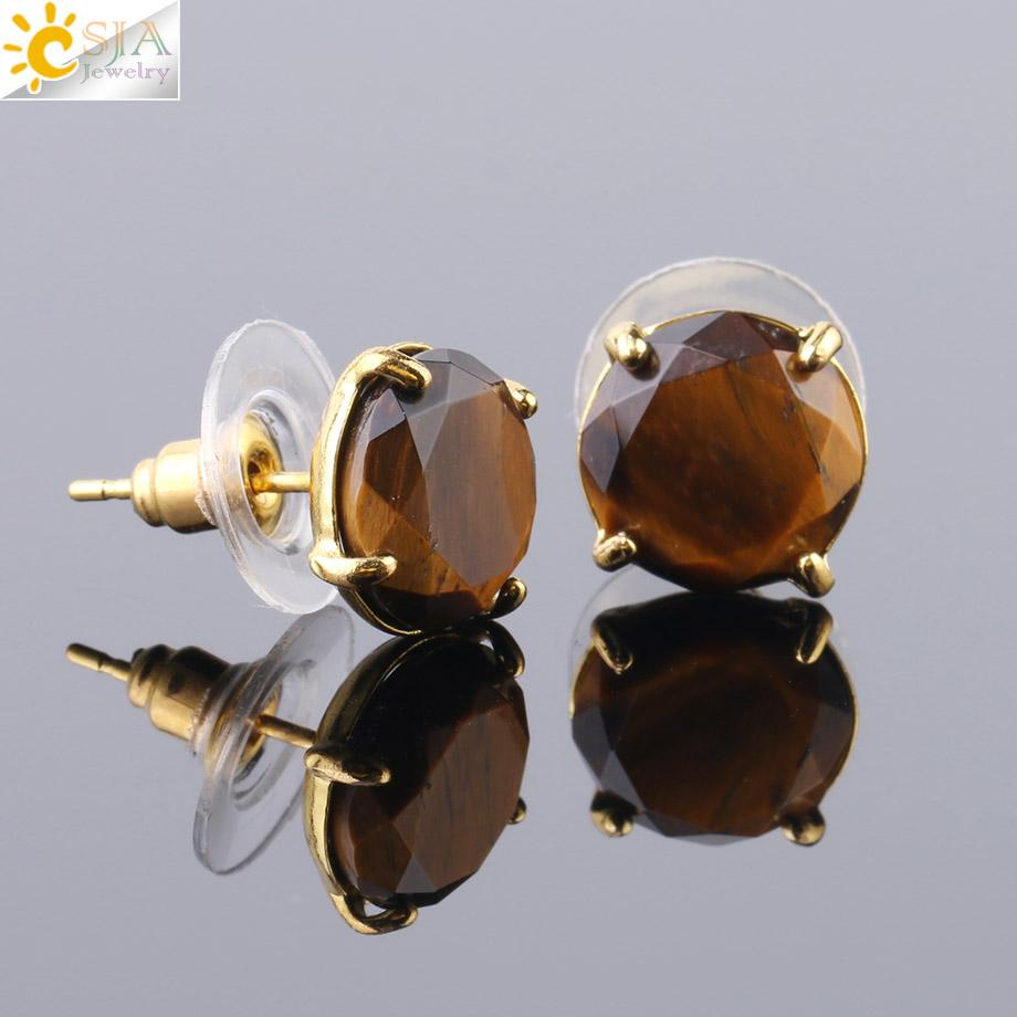 CSJA Natural Gemstone Stud Earrings Gold Jewelry for Women Faceted Rose Quartz Tiger Eye Opal Lapis Lazuli Stone Bead Earring Wholesale F693