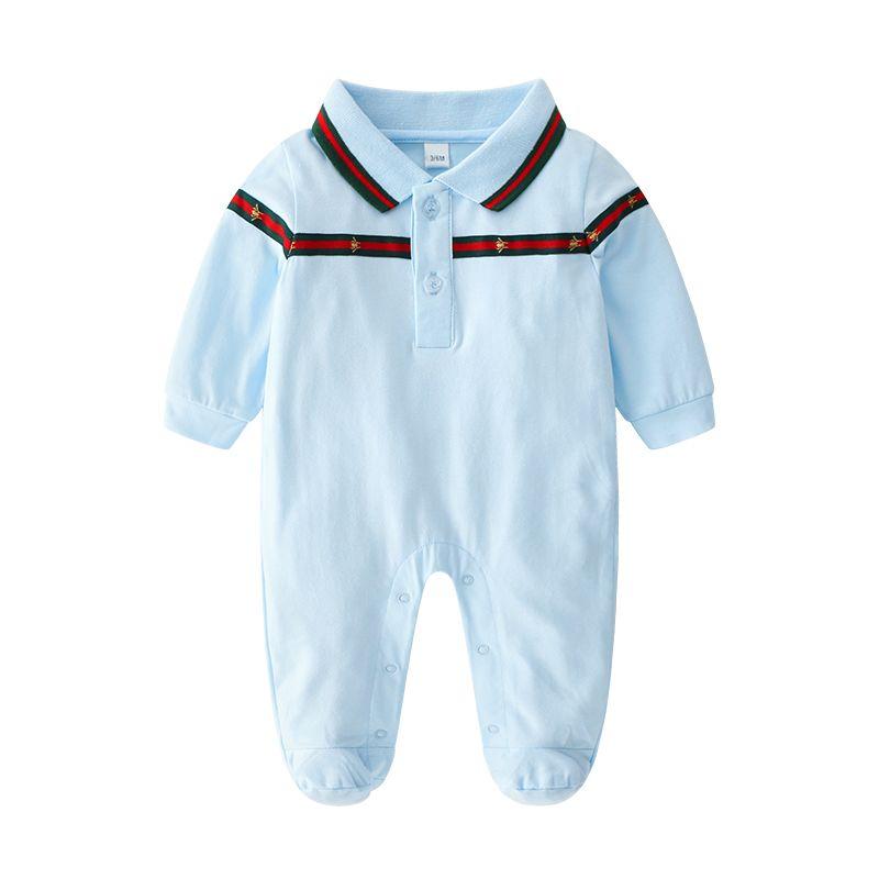 Baby Rompers 바디 슈트 커버 신생아 소년 소녀 원피스 옷 단색 인쇄 베이비 스프링과 가을 긴 소매 잠옷 로파