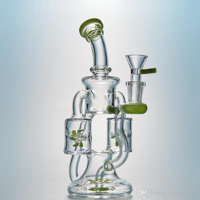 더블 리사이클 러 유리 봉 프로펠러 Percolater 물 담뱃대 Dab rigs 보라색 녹색 물 파이프 여성 조인트 18mm 그릇 XL167